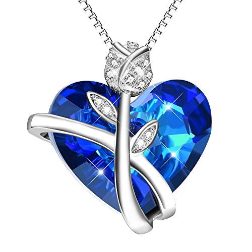 (AOBOCO Sterling Silver Heart Necklaces for Women Blue Swarovski Crystals Rose-Flower Jewelry Anniversary Birthday Gift for Daughter Lover Niece Wife Girlfriend Sister Friend (Rose Heart Blue))