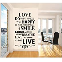 Dushang Love Do what Makes You Happy Be With Who Makes You Smile AS You Breath Love As Long As You Live House Rule Black Quotes Wall Stickers Home Decals Decor Living Room