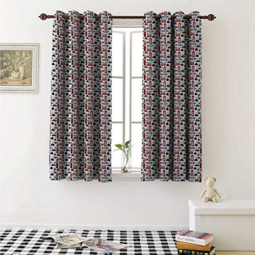 (shenglv London Waterproof Window Curtain Famous English City Popular Landmarks and Symbols UK Tourism Travel Destination Curtains for Party Decoration W84 x L72 Inch)