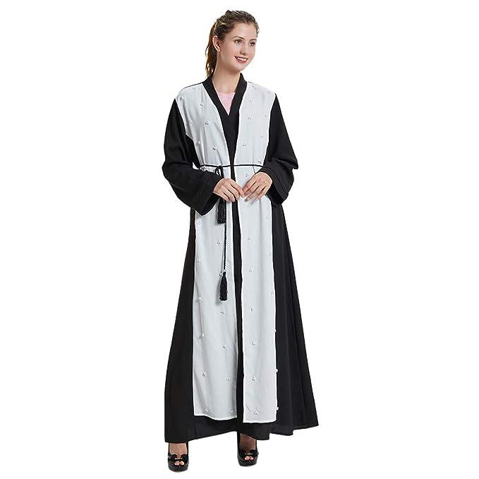 RISTHY Musulmana Batas Largos Mujer Musulmán Vestido Encaje Talla Grande Vestidos con Cordón Elegantes Vestidos Abaya