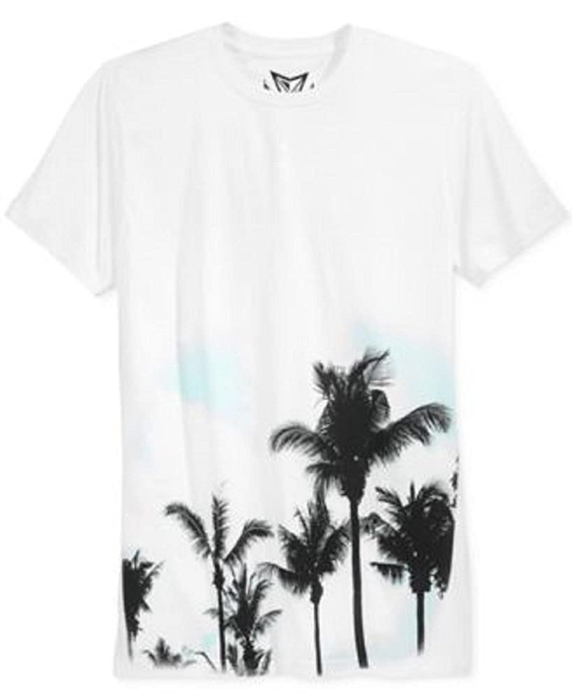 Univibe Mens Graphic Palm Tree Print T Shirt Medium White