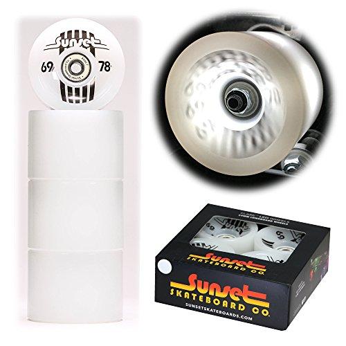 ラバ立派なバングサンセットスケートボードホワイト69 mm Longboard LEDライトアップホイールセットwith abec-7カーボンスチールベアリング( 4 -パック)