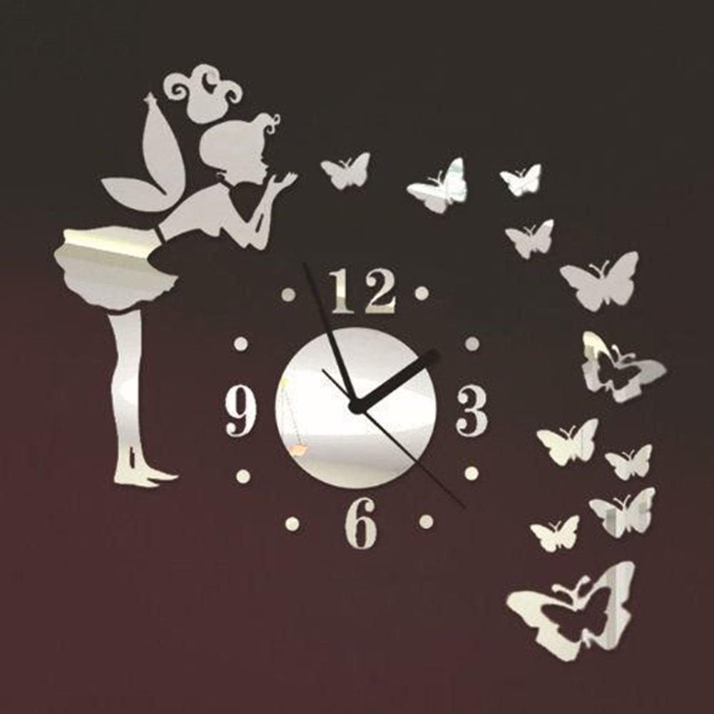 Angel Butterfly DIY Art Large Wall Clock Sticker with 3D Acrylic Mirror Wall Stickers for Living Room Bedroom Kitchen Office Nursery Decoration (Silver) Keersi