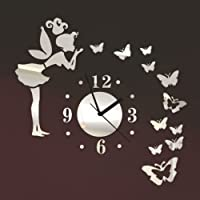 Angel Butterfly DIY Art Large Wall Clock Sticker with 3D Acrylic Mirror Wall Stickers for Living Room Bedroom Kitchen Office Nursery Decoration (Silver)