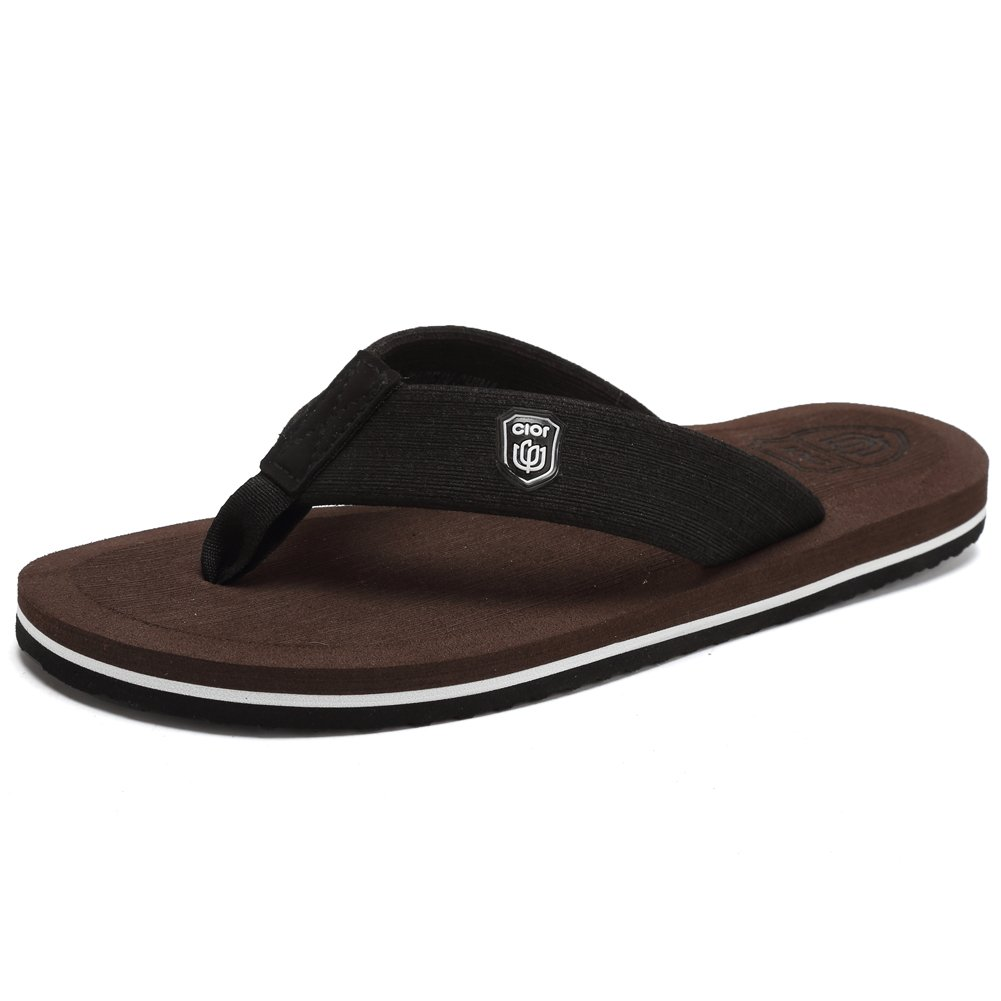 CIOR Men's Classical Flip-Flop Beach Slipper Thong Sandals Comfortable Handmade Fashion Indoor and Outdoor,SL30XB,Brown,43