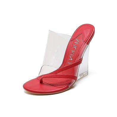 03e64ec0fb5 MACKIN J 405-2 Women s TPU Lucite Clear Wedge Heel Open Toe Slip On Mule