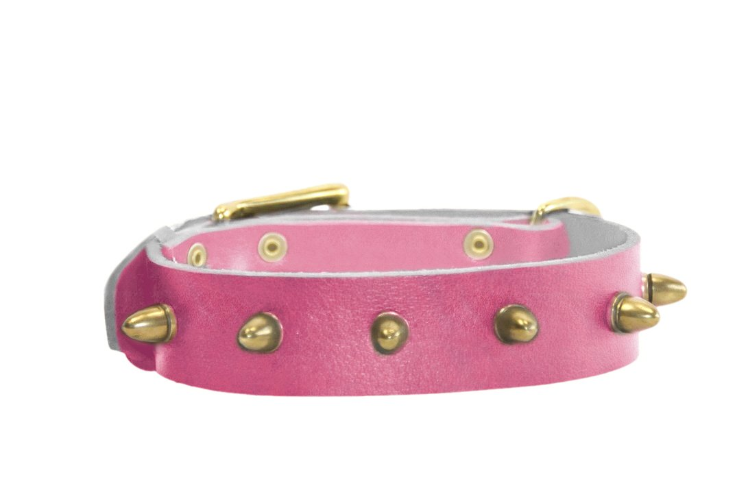 Dean and Tyler  THE BULLET  Leather Dog Collar with Nickel Buckle Pink Size 46cm by 4cm Width. Fits Neck Size 16 Inches to 20 Inches.