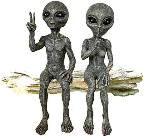 Outer Space Alien Grays Peace Dude Quite Babe UFO Extraterrestrial 10″ H Shelf Sitters Martians Garden Statue Figurine Set