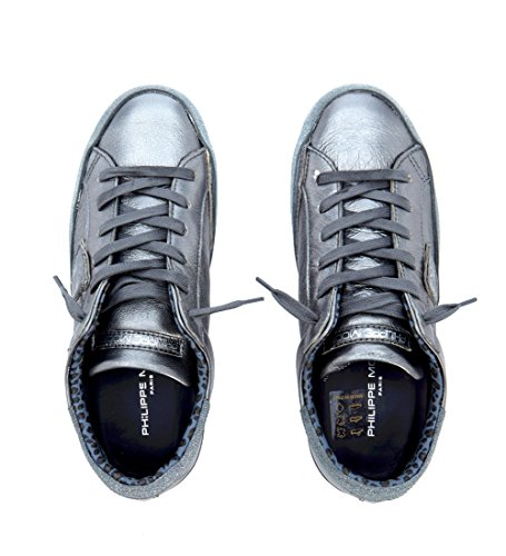 Glitter Model Paris in Philippe e Grigio Argento Sneaker Metallizzata Pelle Axqfwdf