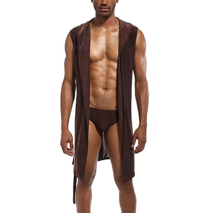 Linlink Mens New Fashionable Sexy Underwear Bathrobe Nightgown Pure Cap Blouse Top Bata De BañO De