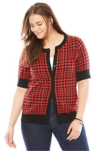 Ribbon Trim Sweater (Woman Within Women's Plus Size Elbow-Sleeve Classic Cardigan Sweater Red Gingham Plaid,2X)