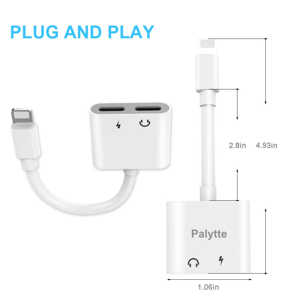 DPKIKO Headphone Adapter Splitter Compatible with iPhone Xs max / 7/7 8/8 Plus/X, Dual 8 Pin Jack Aux Audio & Charging & Calling & Sync Cable Connector Earphone Charger, White