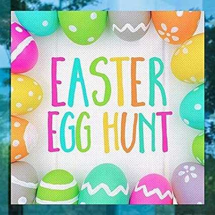 Easter Egg Hunt CGSignLab Square Perforated Window Decal 24x24 5-Pack