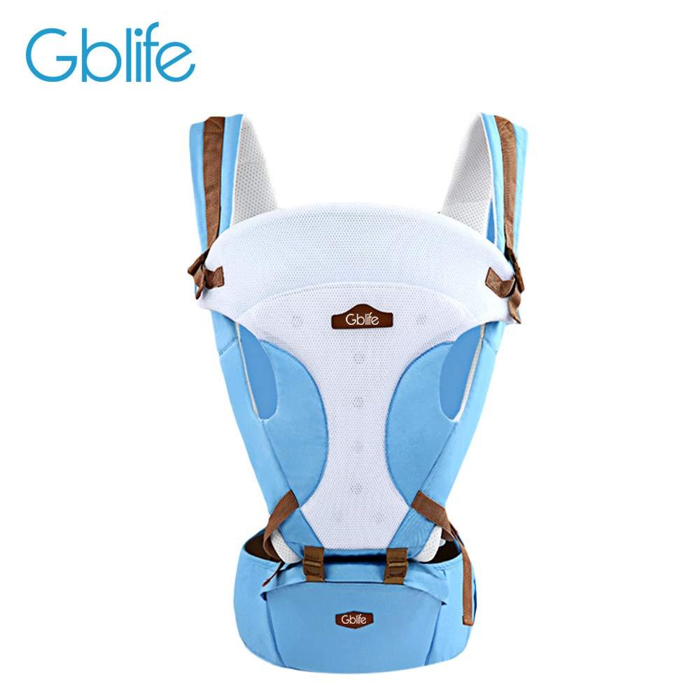 GBlife Babytrage Einstellbares Multifunktions 5 Möglichkeiten New Design mit tragbar Sitz Baumwolle Atmungsaktiv für Neugeborene Kleinkinder (Blau)