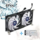 TITAN- 12V 120mm DC Double Rack Mount Ventilation Cooling fan for Fridge Vent and Ventilation Grille with Speed Controller (120mm) TTC-SC22(B)