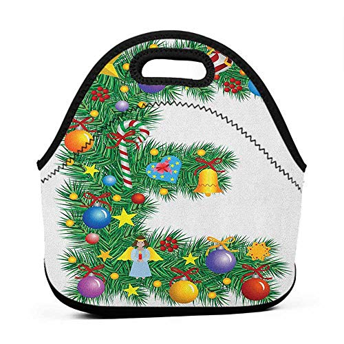 Large Size Reusable Lunch Handbag Letter E,Seasonal Holiday Candy Cane Big Star Praying Angel Capitalized Letter E Alphabet, Multicolor,women lunch bag for work
