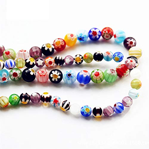 98 pcs Mix Round Glass Beads, Millefiori Flower Lampwork Beads for DIY Craft Project, Bracelet Necklace Jewelry Making(6mm and 10mm)