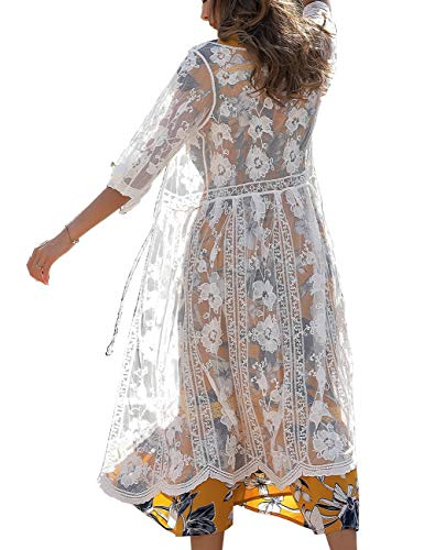 Womens Embroidery Sheer Cover Up Crochet Floral Lace Up Long Swimsuits Beach Kimono Coverups