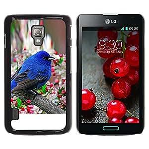 Caucho caso de Shell duro de la cubierta de accesorios de protección BY RAYDREAMMM - LG Optimus L7 II P710 / L7X P714 - Robin Spring Bird Blue Blossom Tree Apple