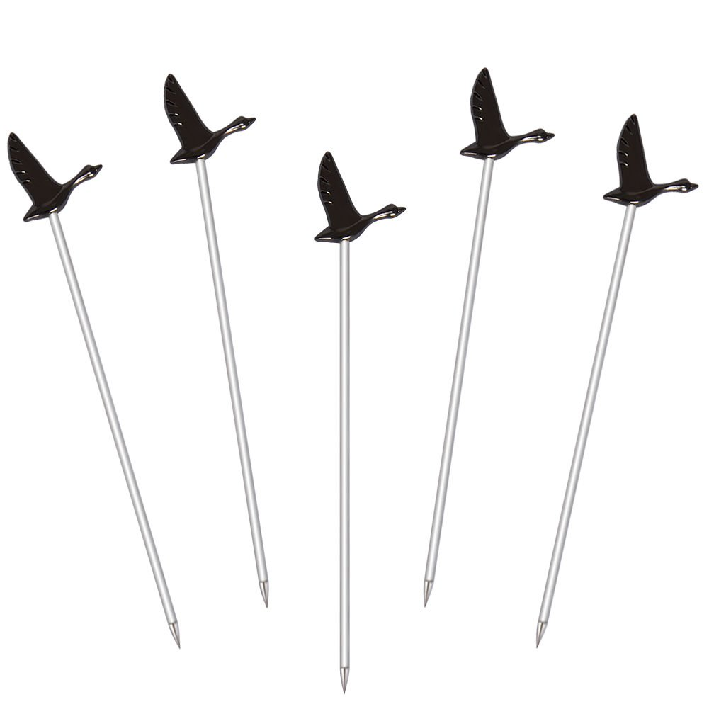 Finneshoky Stainless Steel Martini Cocktail Picks for Olive,Cocktail,Party,Wedding - Set of 5 - Black Goose
