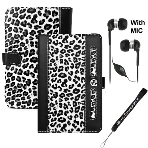 LEOPARD ( BLACK WHITE ) Protective Slim and Durable Professional Faux Leather Executive Portfolio Cover Carrying Case with Suede interior For Amazon Kindle Fire Full Color 7