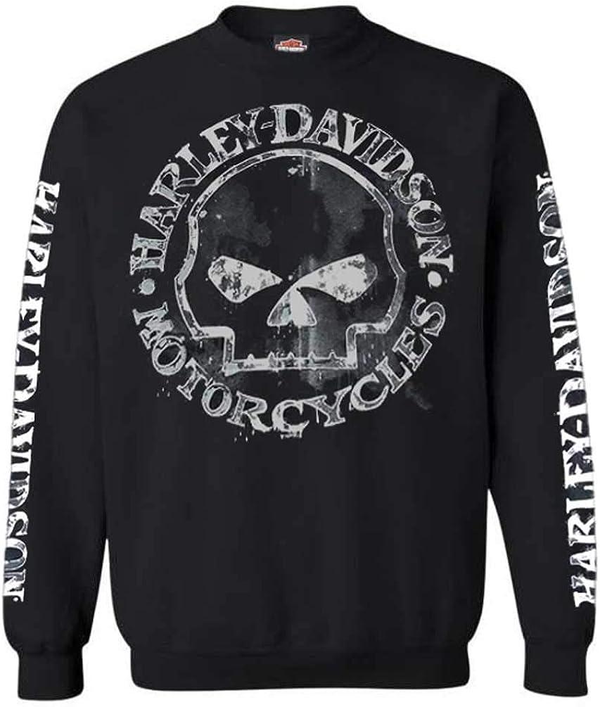 Black Crew Pullover 30296649 Harley-Davidson Mens Willie G Skull Sweatshirt