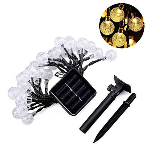 ALHXF Waterproof Christmas Lights Solar Crystal Ball String Lights (189in,20 LED) String Lights Starry Lights, Xmas Lights for Garden, Home, Wedding Patio Summer/Holiday Party by ALHXF