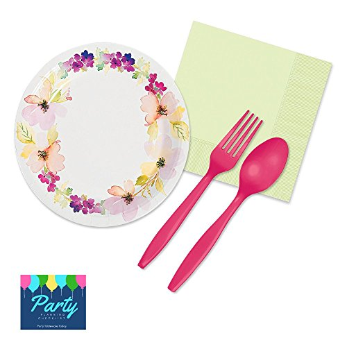 Garden Fairy Lunch Napkins - Fairy Garden Party Supplies Kit - Tableware for 16 Guests includes Dessert Plates, Napkins, Cutlery
