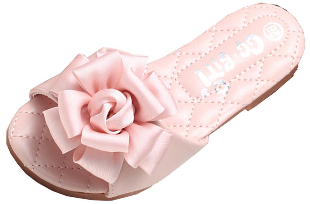 VECJUNIA Girl's Sandal Slippers - Slip on Open Toe Anti-Slip Shoes - Cute Big Flowers - Comfortable House Slippers (Pink, 2 M US Little Kid)