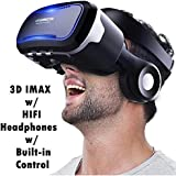 """3D VR Glasses Virtual Reality Headset w/Headphones Compatible for iPhone X 8 7 6S 6 Plus, Samsung Galaxy S9 S8 S7 S6 Edge Plus S5, Note 5 4 3 2, A/J7 5 3, LG iOS & Android 4.5-6.0"""" Smartphones, Black"""