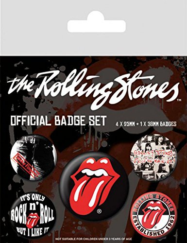 1art1® Set: Rolling Stones, Classic, 1 X 38mm & 4 X 25mm Badges Paquet De Badges (15x10 cm) + 1x Sticker Surprise