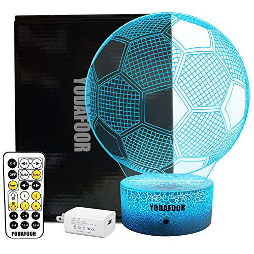 YODAFOOR 3D Night Lights for Kids Baby Teen Children 3D Soccer Illusion Lamp, Birthday Party Gift for Sport Fans, Bedside Table Desk Multi Color Remote Lamp Living Room Decor Nursery -