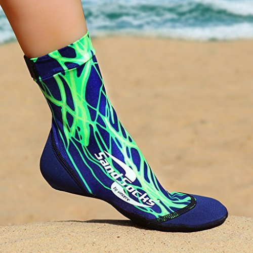 Sand Socks soft-soled snorkeling booties (youth/adult) XS Green lightning