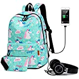 PANTIPINKY Travel Laptop Backpack with USB Charging Port & Headphone Interface Large Capacity School Backpack for College Student, Women, Teen Girls, Fits 15.6 inch Laptop/Notebook/Tablet