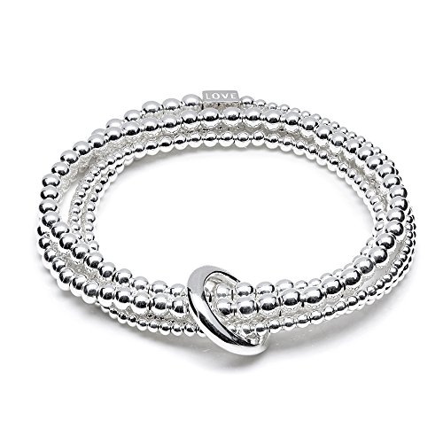 ANNIE HAAK Yard of Love Bracelet superposable Simple Wrap Style Gravé avec 'Love', Made in Argent 925