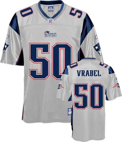 bc6a0d871b0 Mike Vrabel Jersey: Reebok Silver Replica #50 New England Patriots Jersey -  Small