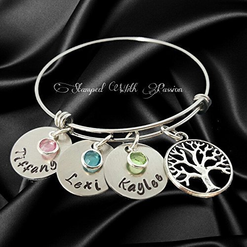 Mom bangle bracelet Personalized birthstone product image