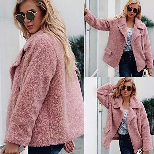 Outwear Veste Automne Manteau Hiver Femme Chaud Blouson En Fourrure Fausse Jacket Douche Élégant Ishine Rose Fluffy 6XqH0q