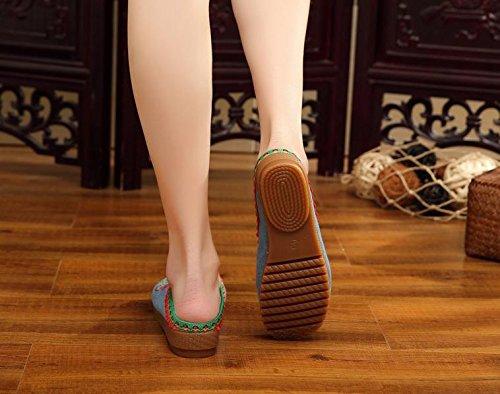 Cómodas Y Denim Sandalias Zapatos Tendón Flop Bordados Lenguado Estilo Flip Zq Femenino Étnico Casuales Blue De Moda 7UZOqxPw