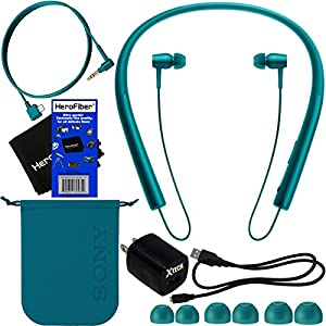 HeroFiber Wireless Bluetooth In-Ear Headphones,Blue (MDREX750BT/L) + Headphone Cable, USB Cable w/Charger Wall Adapter + 4 Sizes Earbuds compatible with Sony