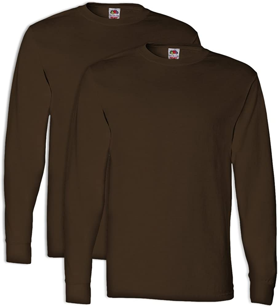 2 Pack FoTL 4930 Mens Heavy Cotton Long-Sleeve Tee M Chocolate