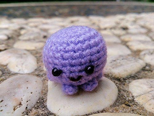 Free Crochet Pattern Teddy Bear (Sansukjai Miniature Purple Octopus Figurines Amigurumi Animals Crochet Soft Toy Stuffed Animals Baby Christmas Gift)