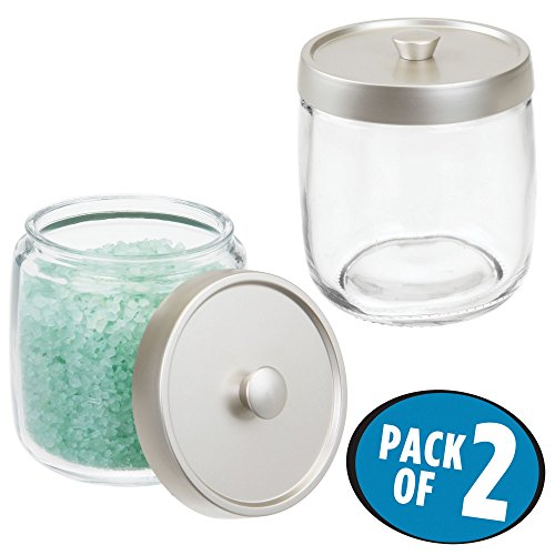 mDesign Bathroom Glass Vanity Storage Organizer Canister Jars for Q tips, Cotton Swabs, Rounds, Balls, Makeup Sponges, Bath Salts - Pack of 2, Clear/Satin - Round Set Dresser