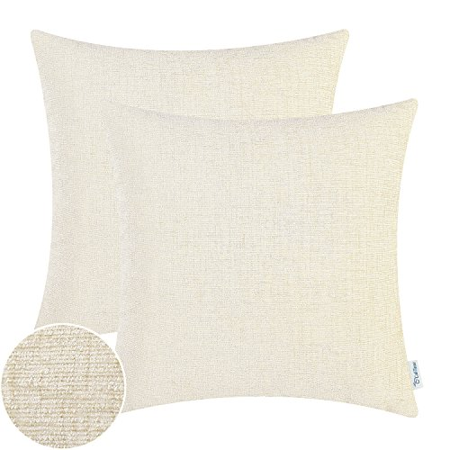 CaliTime Pack of 2 Throw Pillow Covers Cases for Couch Sofa Home Decor, Solid Dyed Soft Chenille, 18 X 18 Inches, Cream (Cream Chenille)