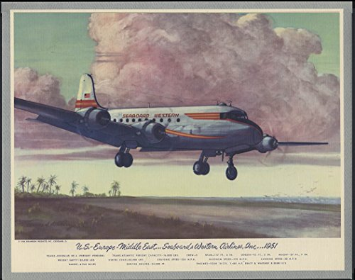 (Seaboard Western Airlines Douglas DC-4 US-Europe-Middle East Hubbell print 1953)