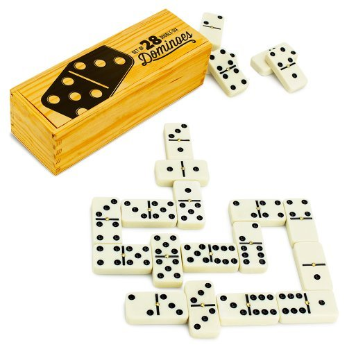 Brybelly Double Six Dominoes with Brass Spinners in Wooden Storage Box, Set of 28 Double Six Dominoes Rules