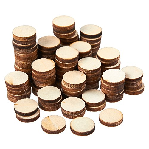 Unfinished Wood Slices - 100-Count Round Natural Rustic Wood Circles, Wooden Log Slices for DIY Craft, Wedding Decoration, Home DecorCenterpieces, 0.5-inch Diameter, 0.1 inch -