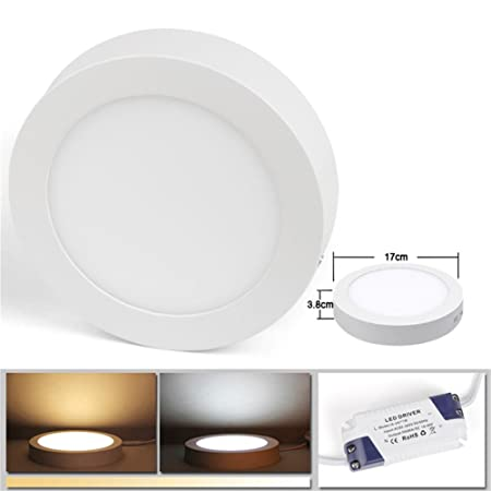2d8cf1f89a BAODE LED Panel Light 12W Warm White Round Ceiling Surface-Mounted Direct  Installation  Energy Class A++
