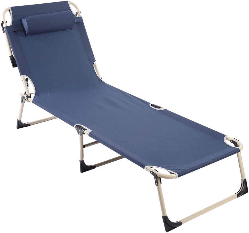 port/átil Plegable Cocoarm balc/ón Color Azul Tumbona Plegable para jard/ín para jard/ín Camping terraza o Playa 192 x 62 cm