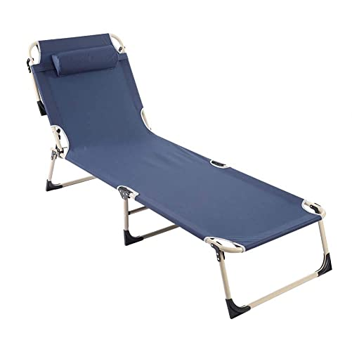 Folding Lounge Chair, Portable Adjustable Recliner Reclining Chaise Lounge Chair for Beach Camping Outdoor Picnic Office Home Patio Deck Yard Pool with Pillow Blue